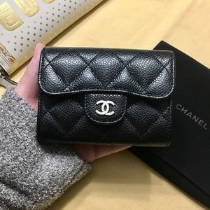 CHANEL Bags - Black Caviar leather Chanel flap card holder